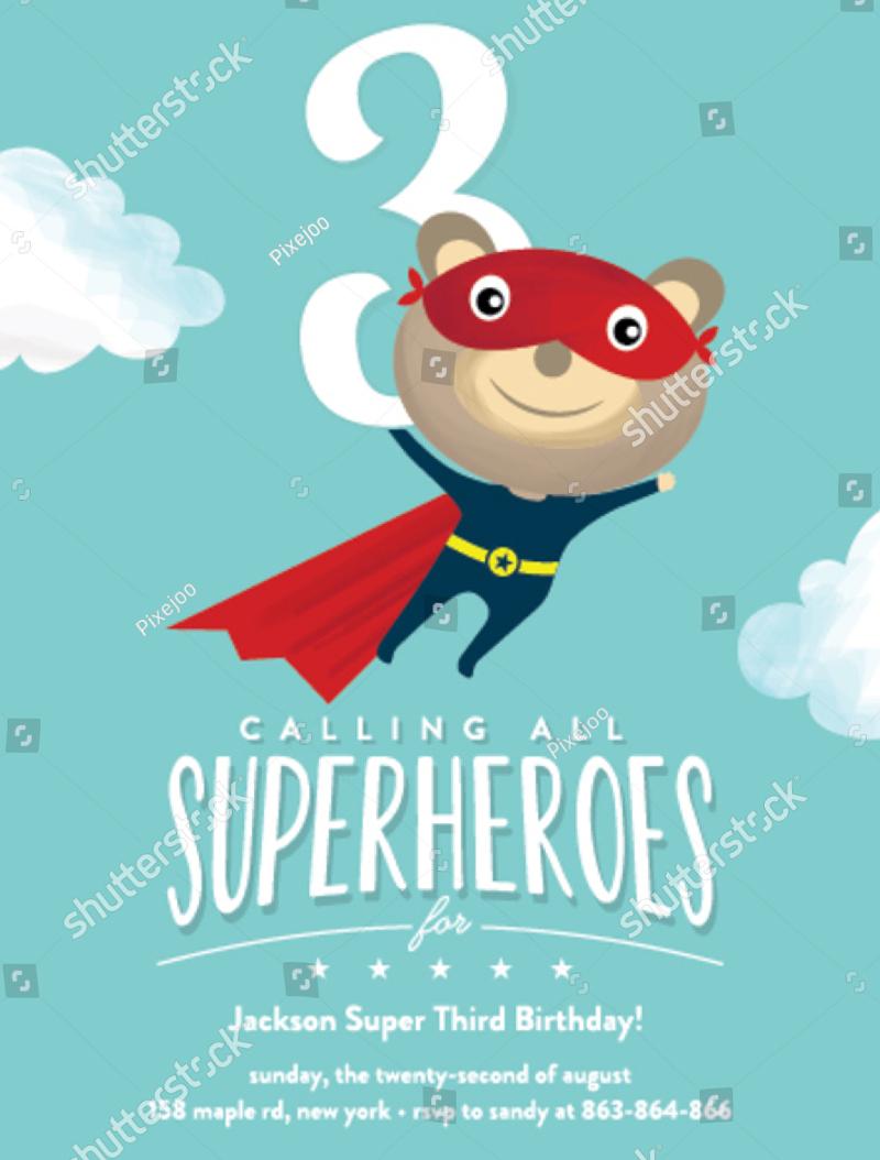 superhero birthday card invitation