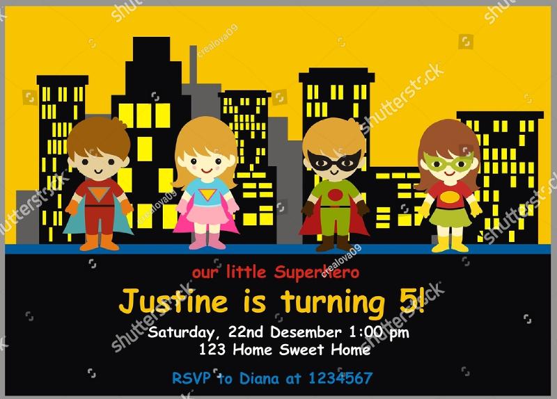 superhero birthday invitation card design