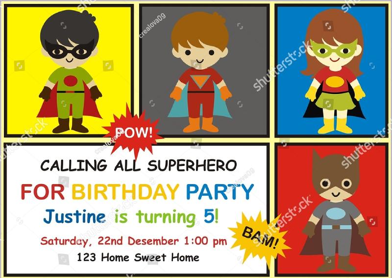 superhero birthday invitation design