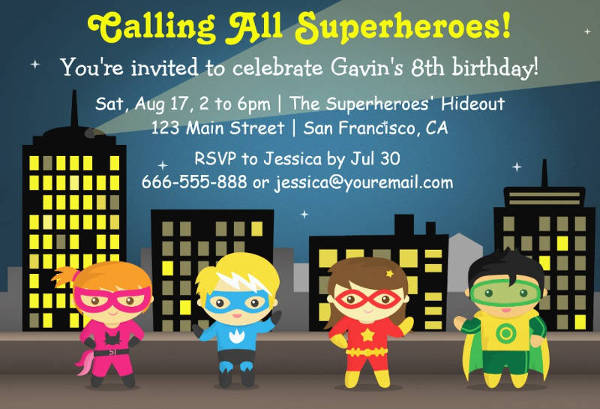 superhero birthday party invitation for kids1