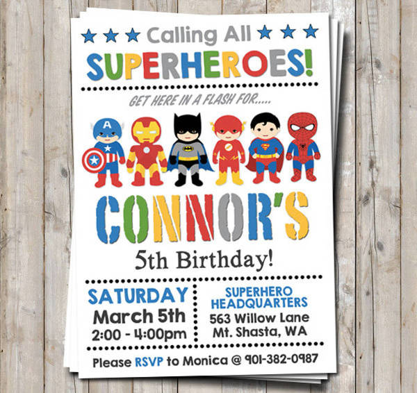 superhero birthday party invitation1