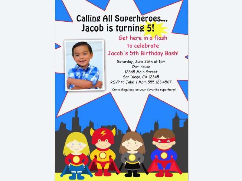 superhero birthday party photo invitation1