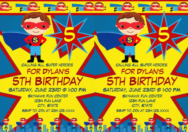 superhero kids boys birthday party invitation1