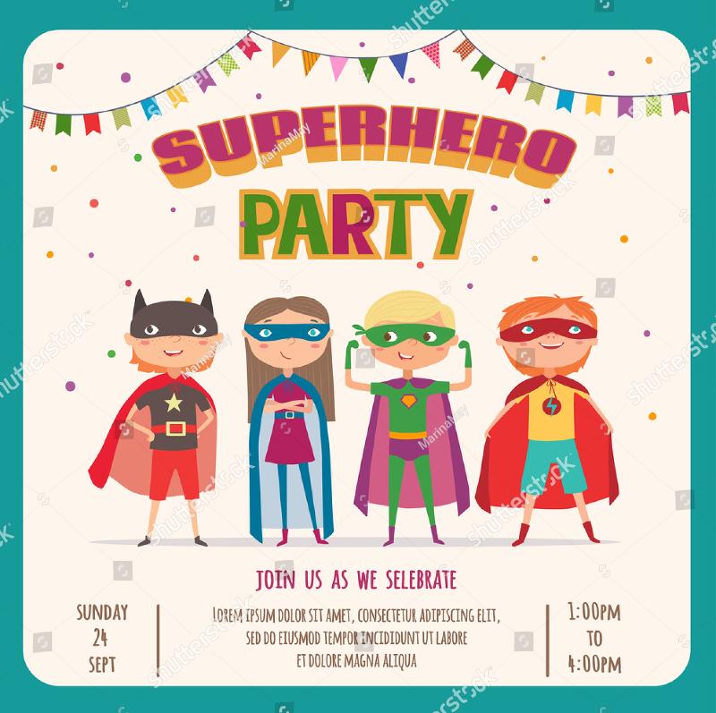 superhero kids boys and girl invitation