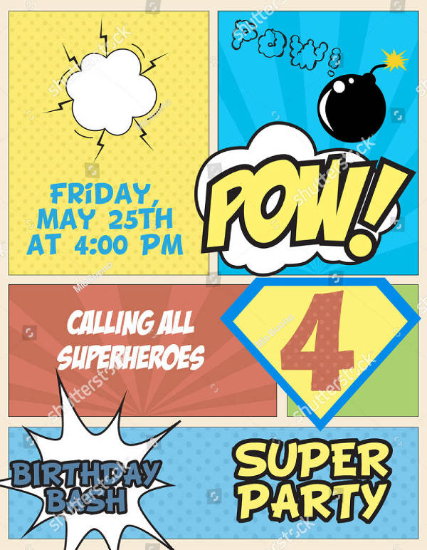 superhero party invitation card1