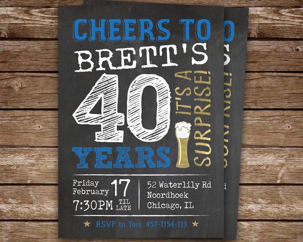 surprise party 40th birthday invitation