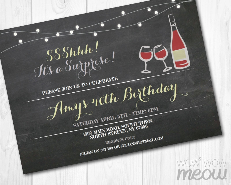 surprise wine invitation card