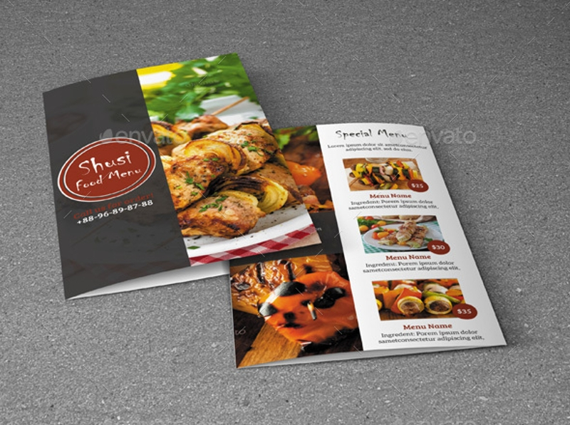 sushi food menu brochure