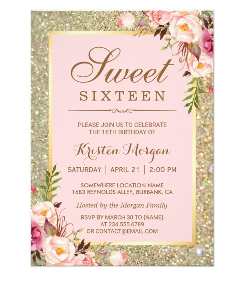 sweet 16 pink floral gold glitters birthday invitation