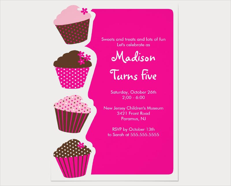 sweet cupcake birthday party invitation1