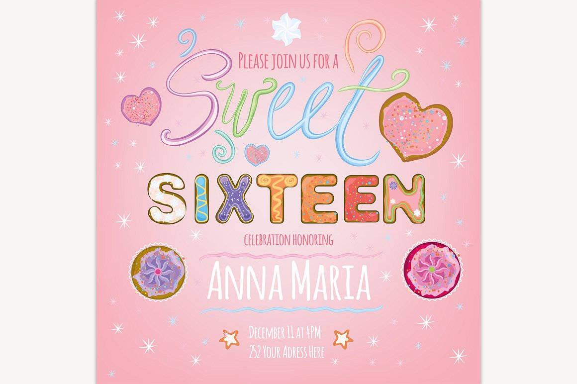 sweet sixteen invitation illustration