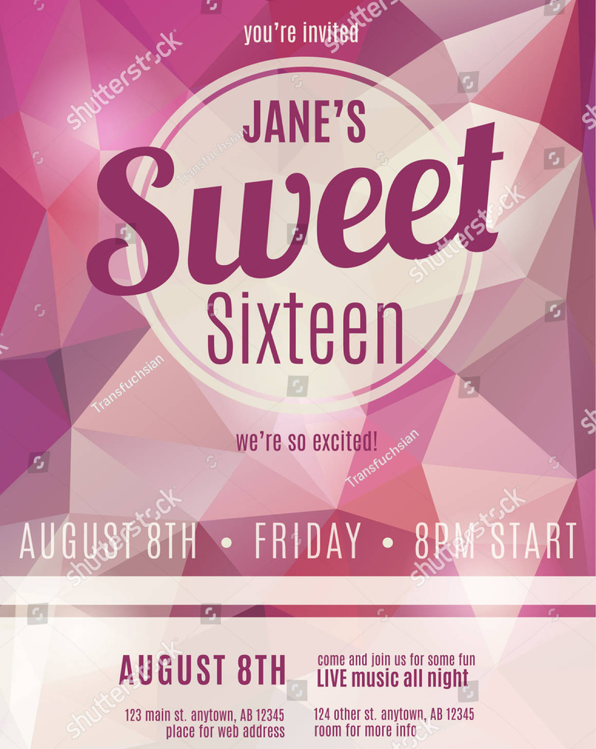 sweet sixteen party invitation template design