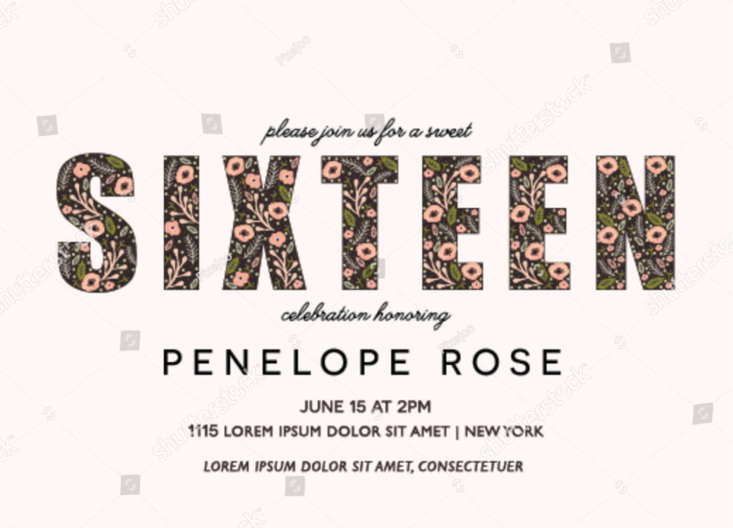 sweet sixteen party invitation with floral design
