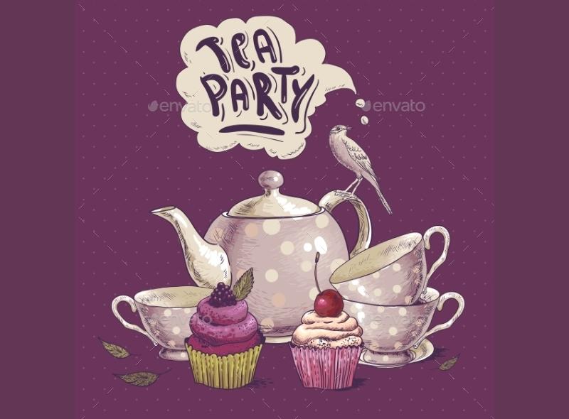 tea party cupcake invitation