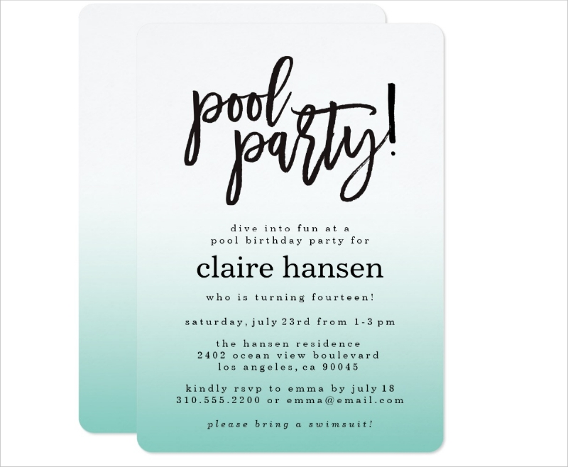 teen birthday party pool invitation1