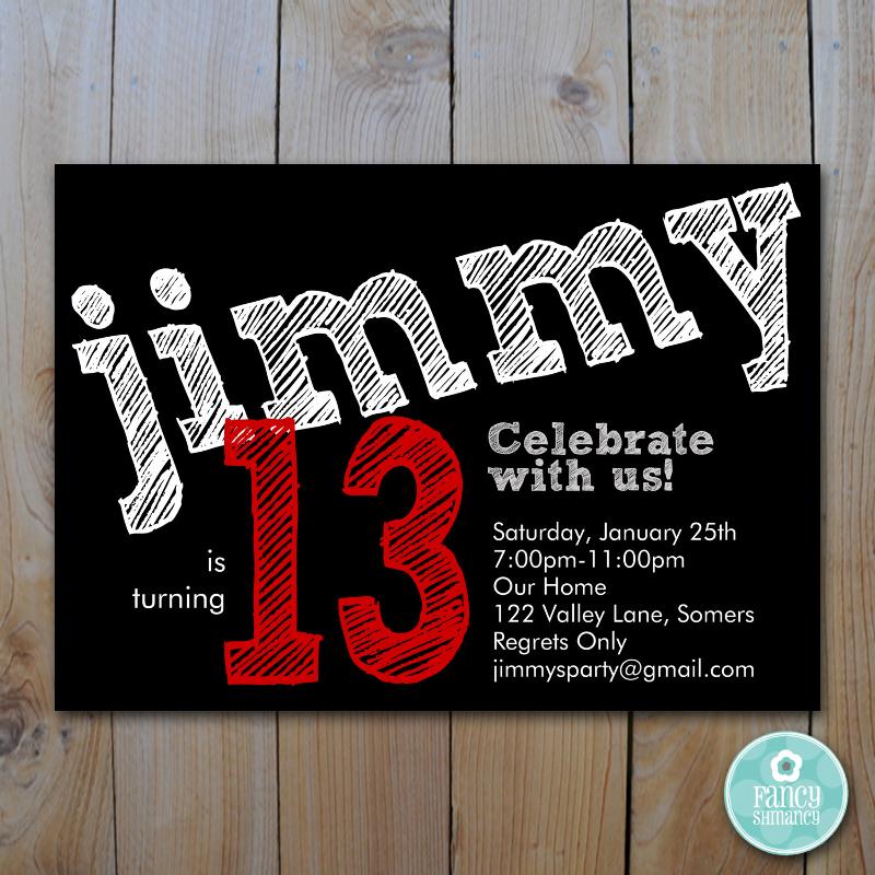 teen boys birthday invitation