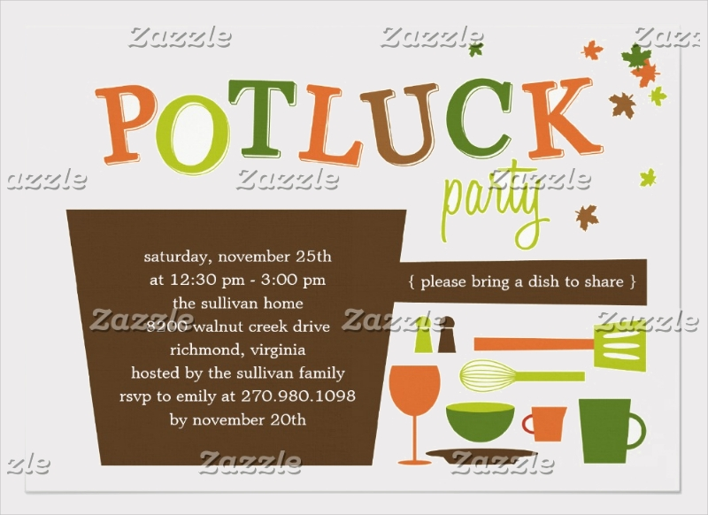 thanksgiving potluck party invitation