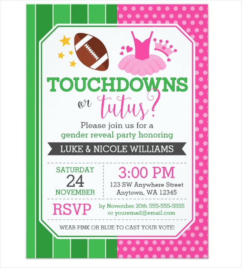 touchdowns or tutus gender reveal party
