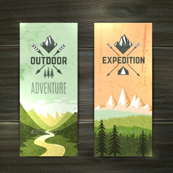 tourism vertical banner set