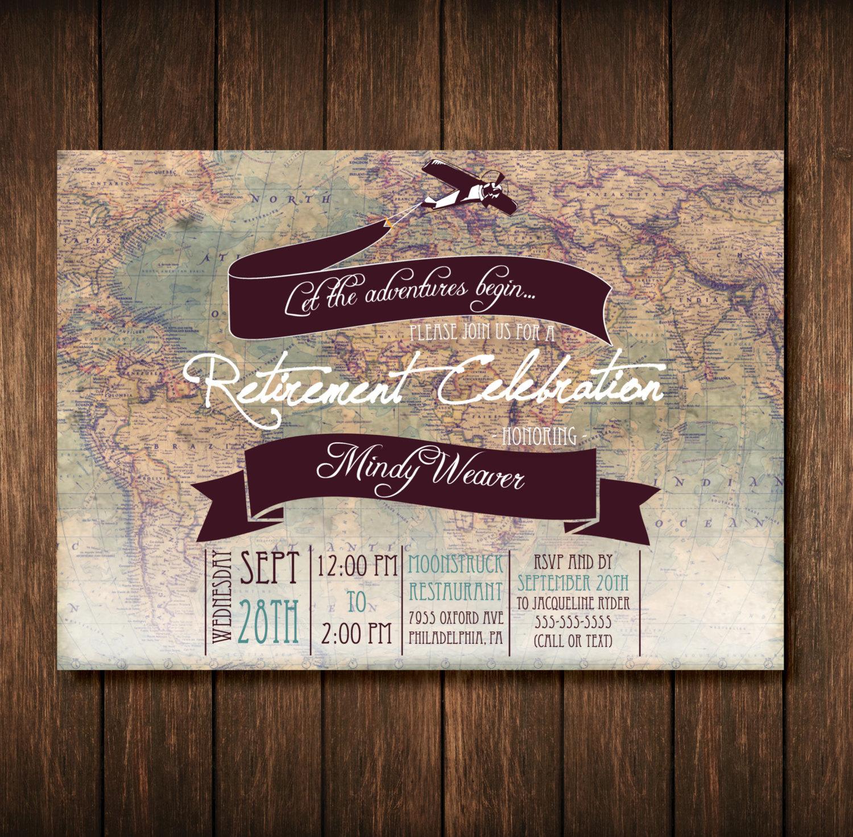 travel theme retirement party invitation