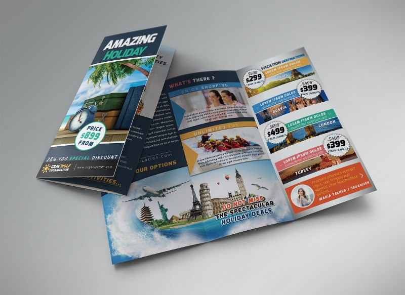 travel tour trifold brochure
