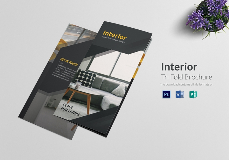 tri fold interior brochure design template