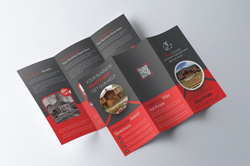 tri fold real estate brochure design
