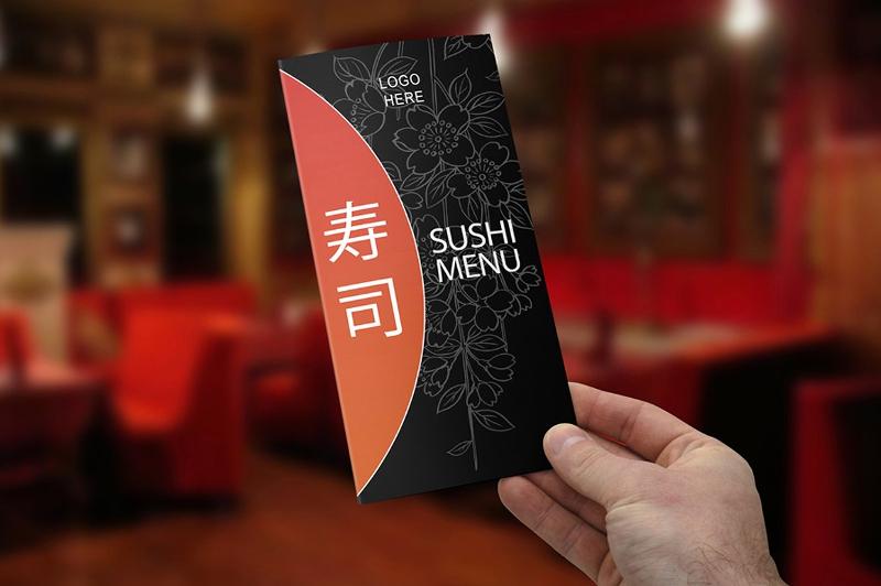 tri fold sushi menu template