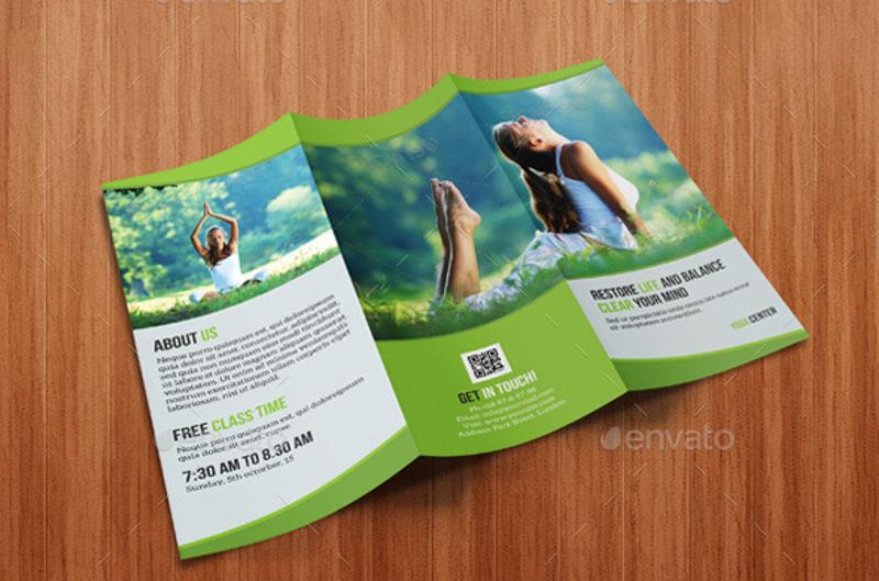 tri fold yoga brochure