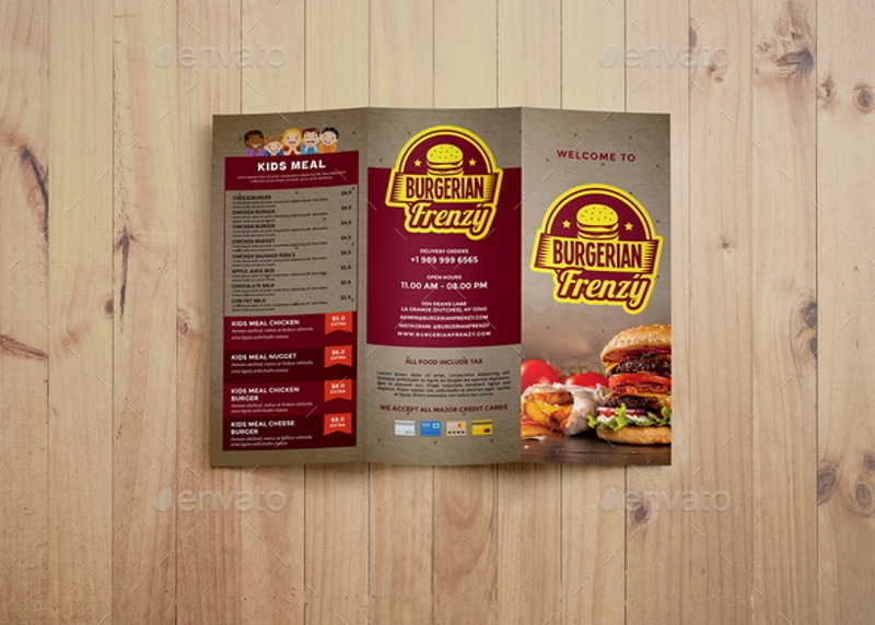 trifold fast food brochure