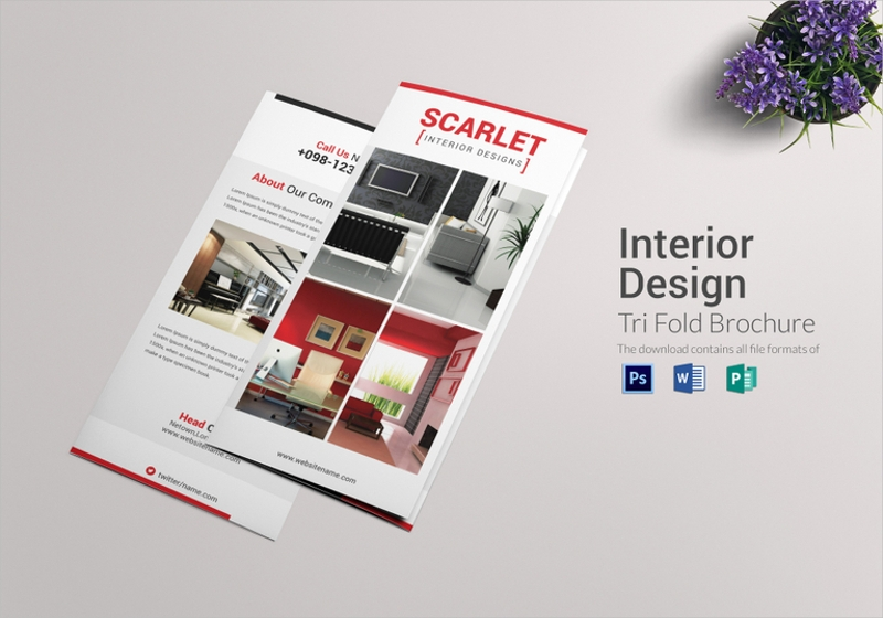 trifold interior design brochure template