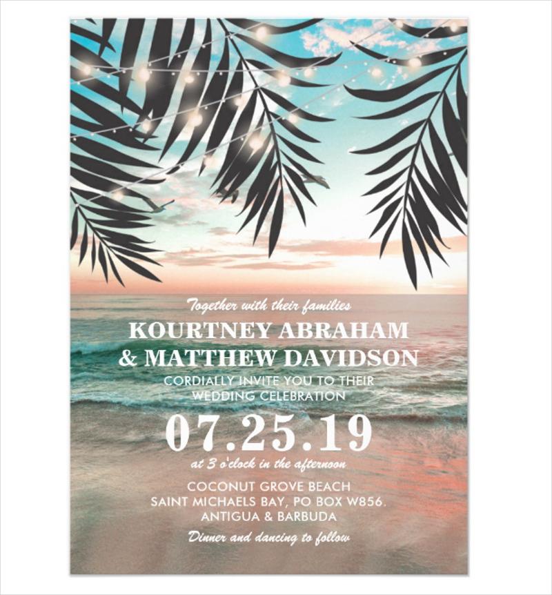 tropical beach wedding invitation