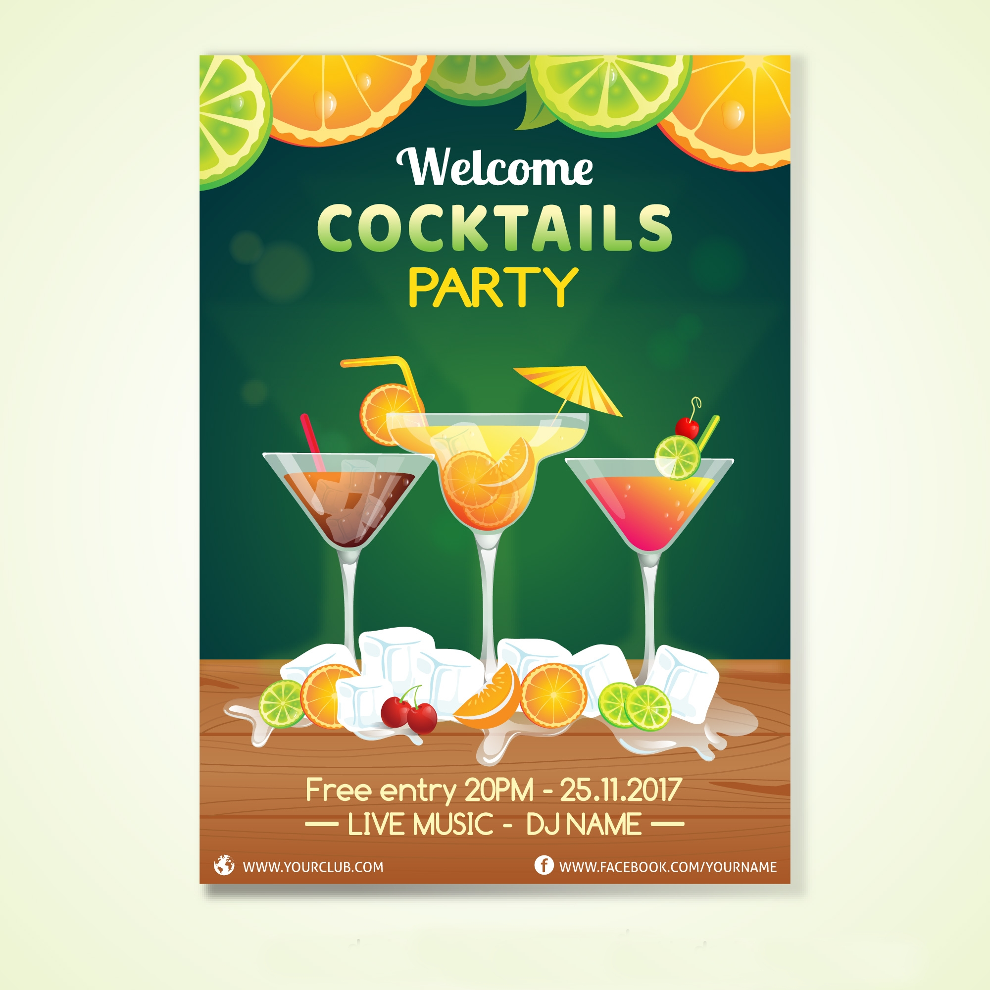 Tropical Cocktail Party Invitation