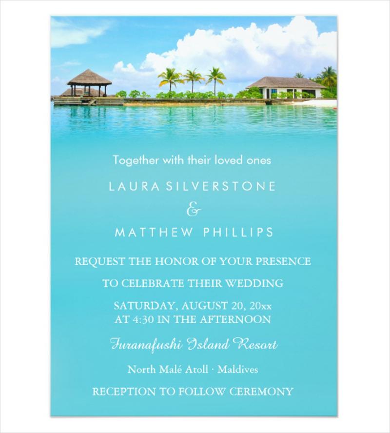 tropical destination resort beach wedding invitation