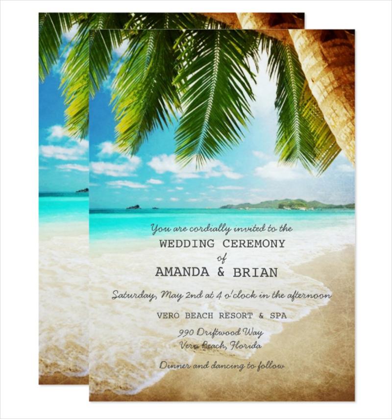 tropical island beach wedding invitation