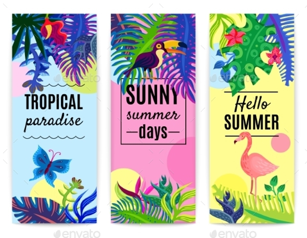 tropical paradise vertical banner collection1