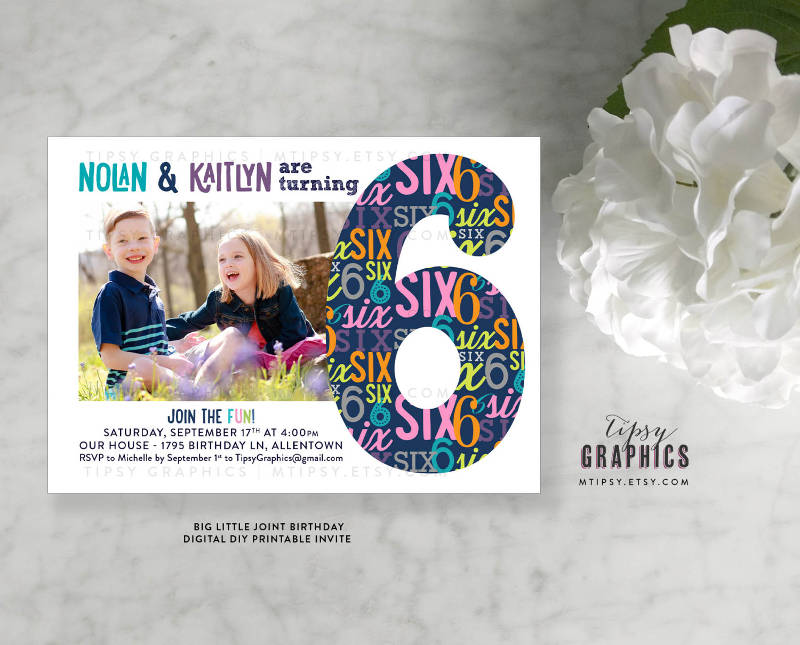 twins joint siblings birthday invitation