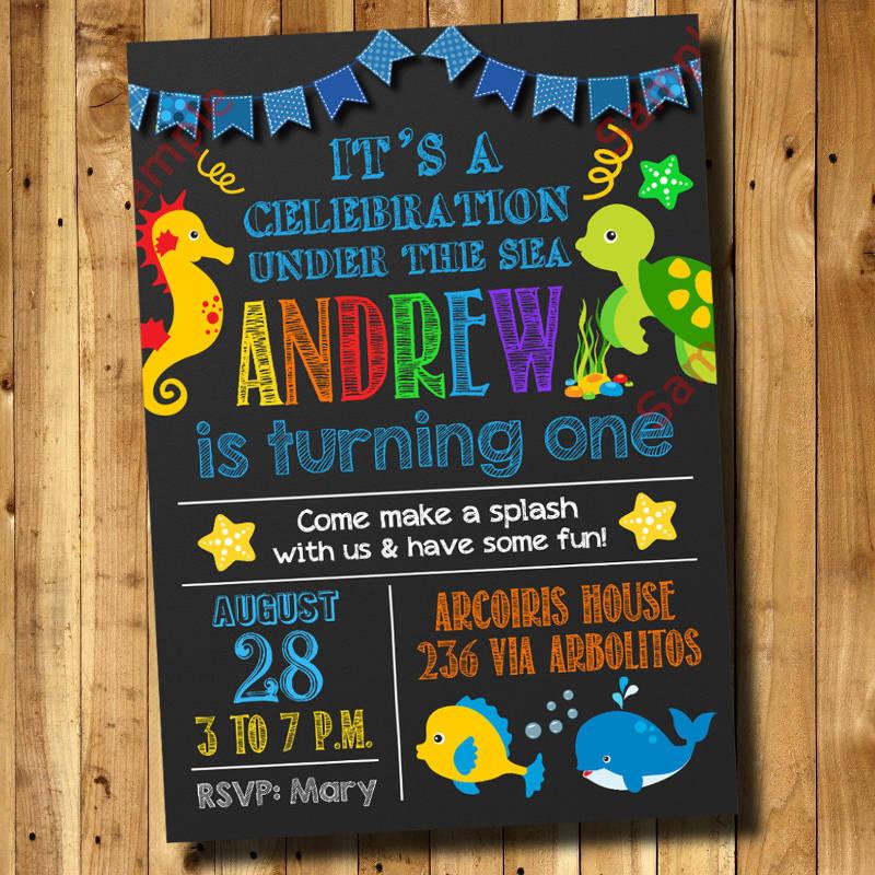 under the sea 1st birthday invitation