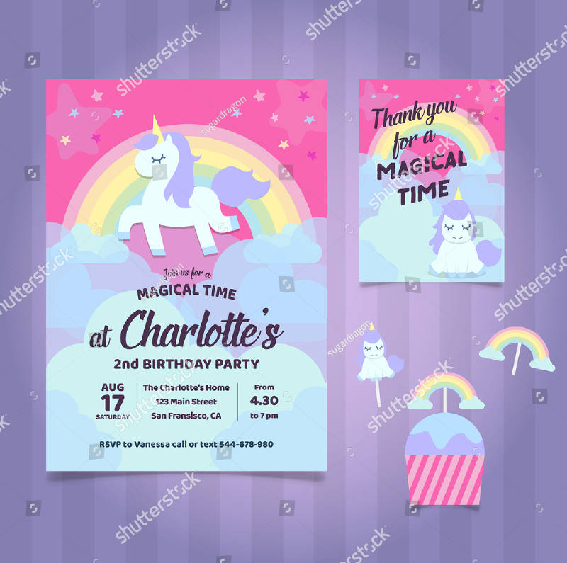 unicorn baby birthday party invitation