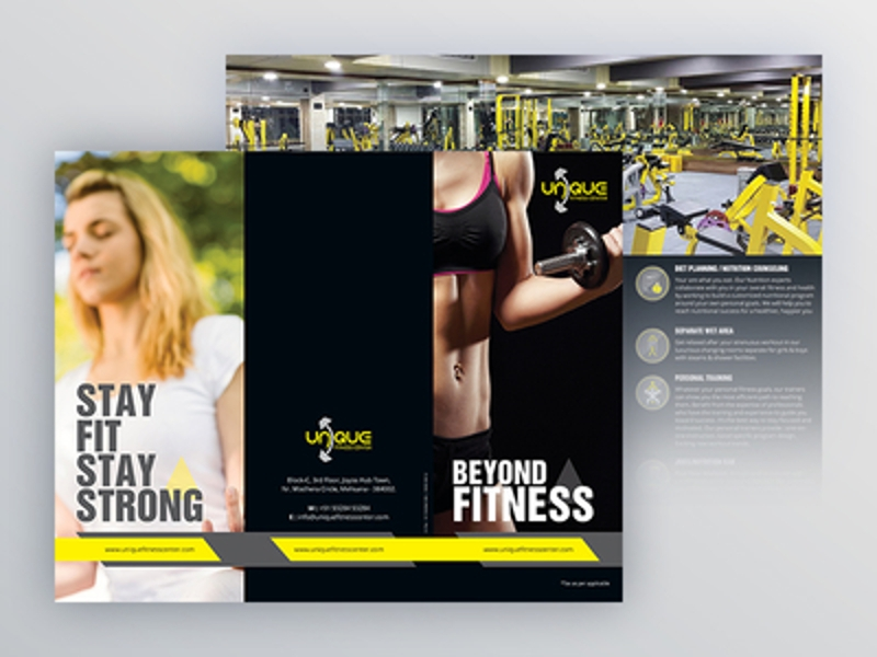 unique fitness center brochure design