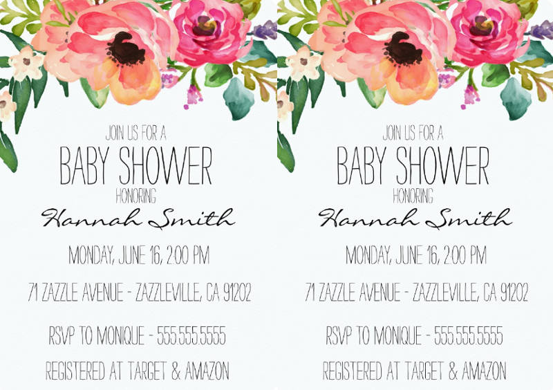 unique floral baby shower invitation