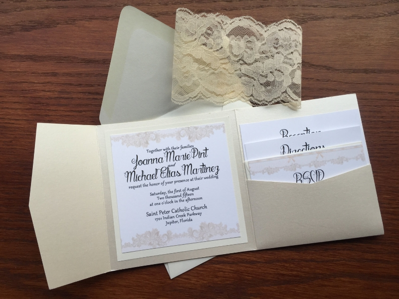 unique lace wedding invitation