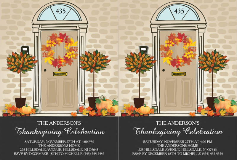 unique thanksgiving celebration dinner party invitation card