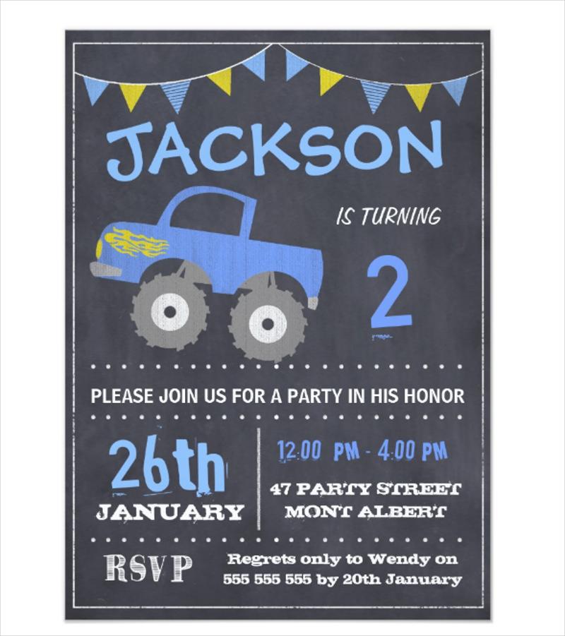 untitledmonster truck chalkboard birthday invitation