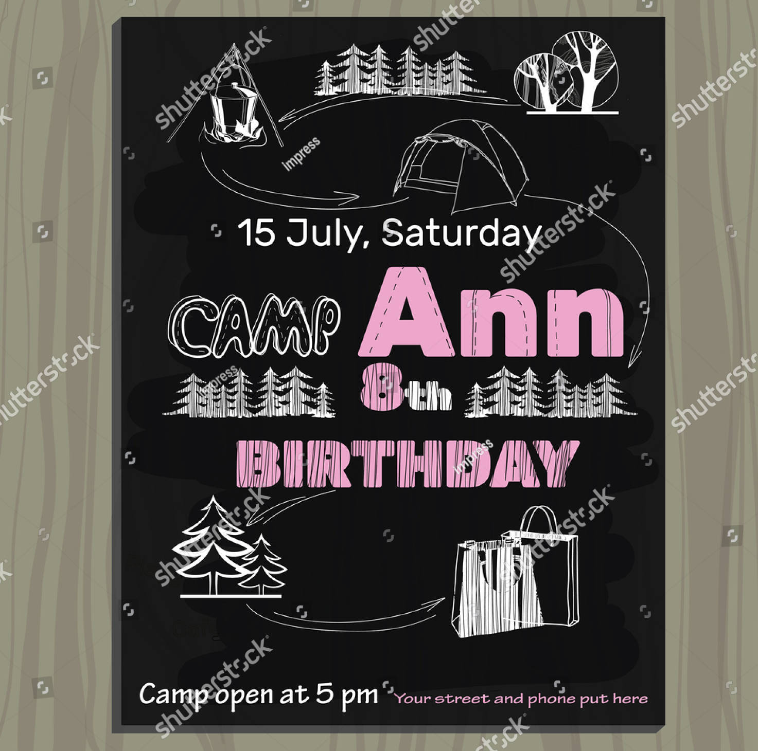 vector illustration of chalkboard invitation