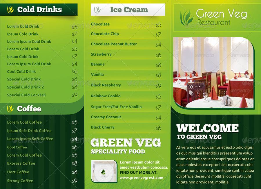 veg restaurant menu card