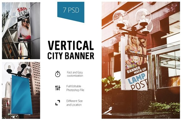 vertical city banner mock up