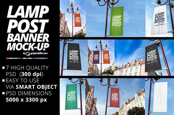 vertical lamp post banner mockup