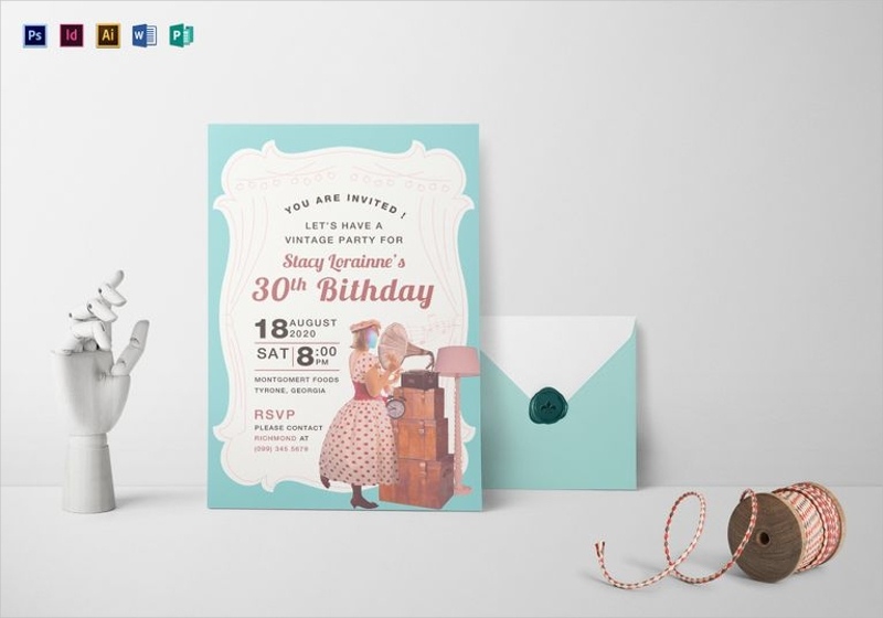 vintage 30th birthday invitation