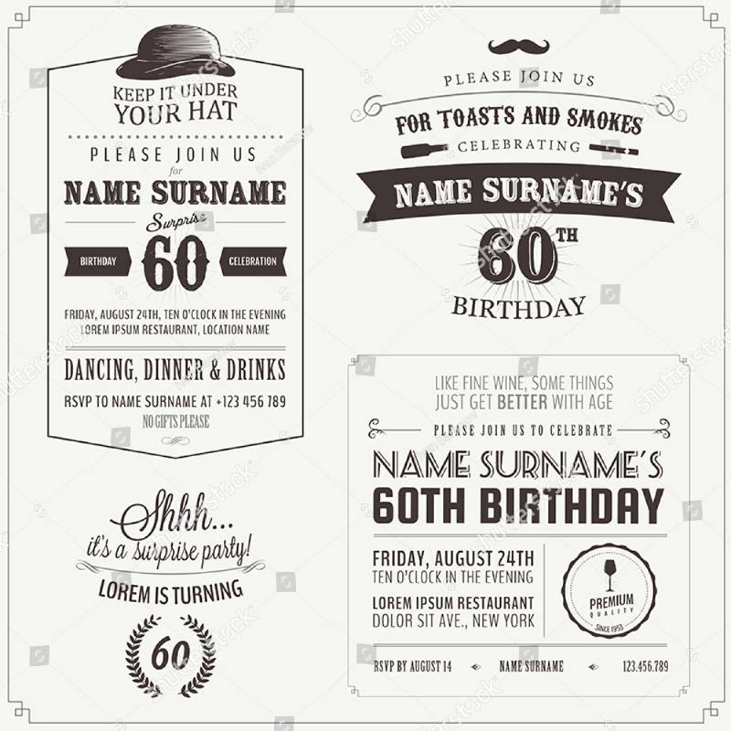 vintage adult birthday invitation design